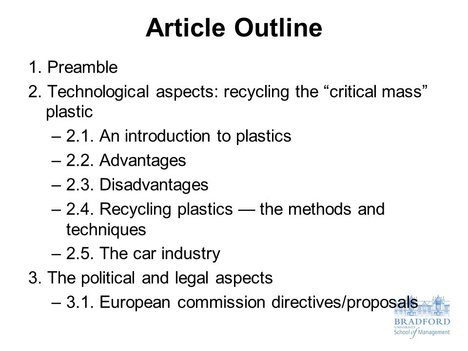 Article Outline 1. Preamble