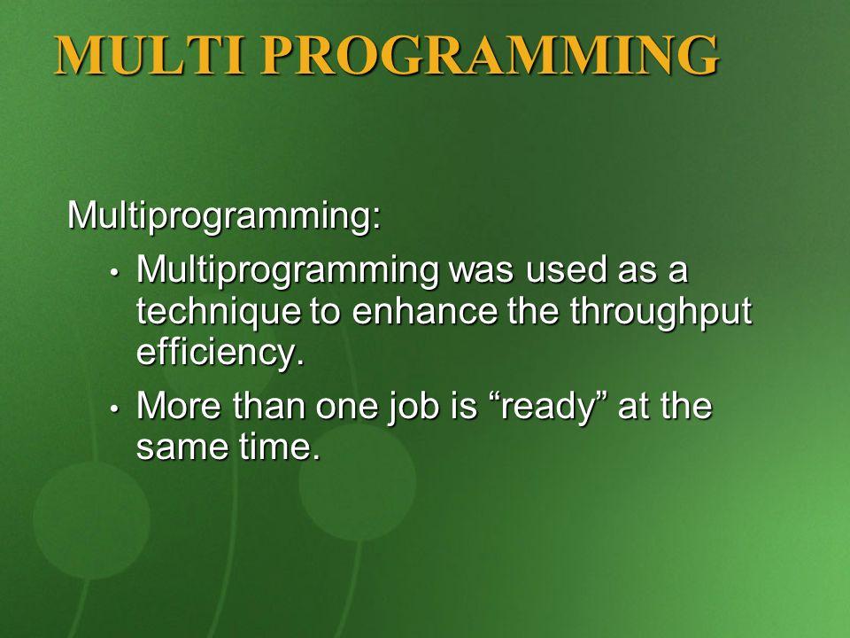 MULTI PROGRAMMING Multiprogramming: