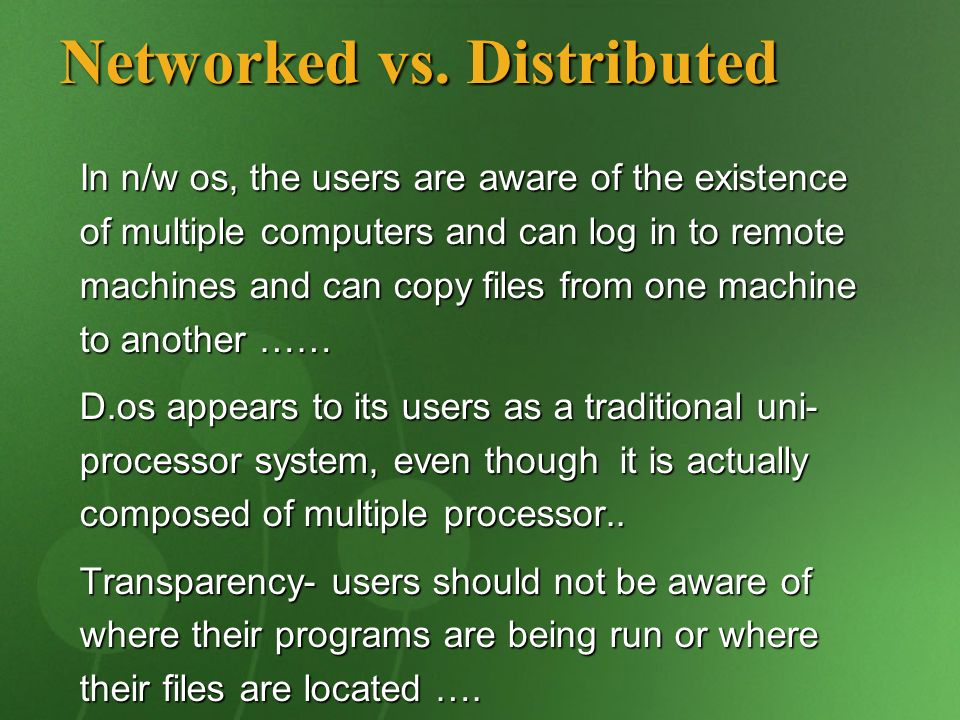 Networked vs. Distributed
