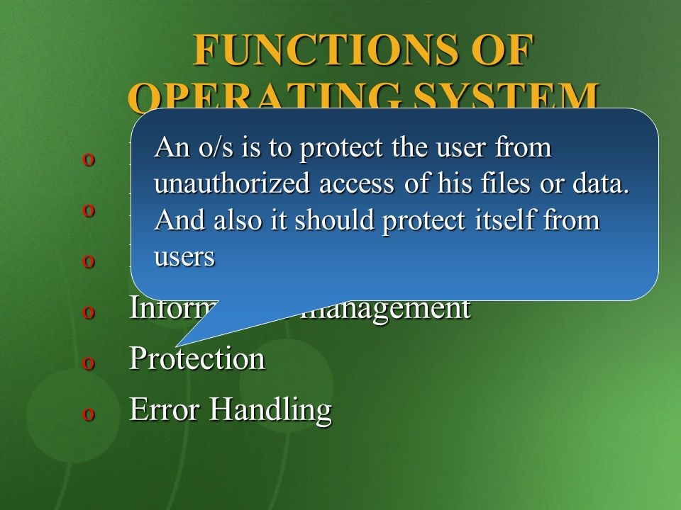 functions of an operating system An operating system is the primary software that manages all the hardware   minecraft uses a variety of operating system functions, and the.