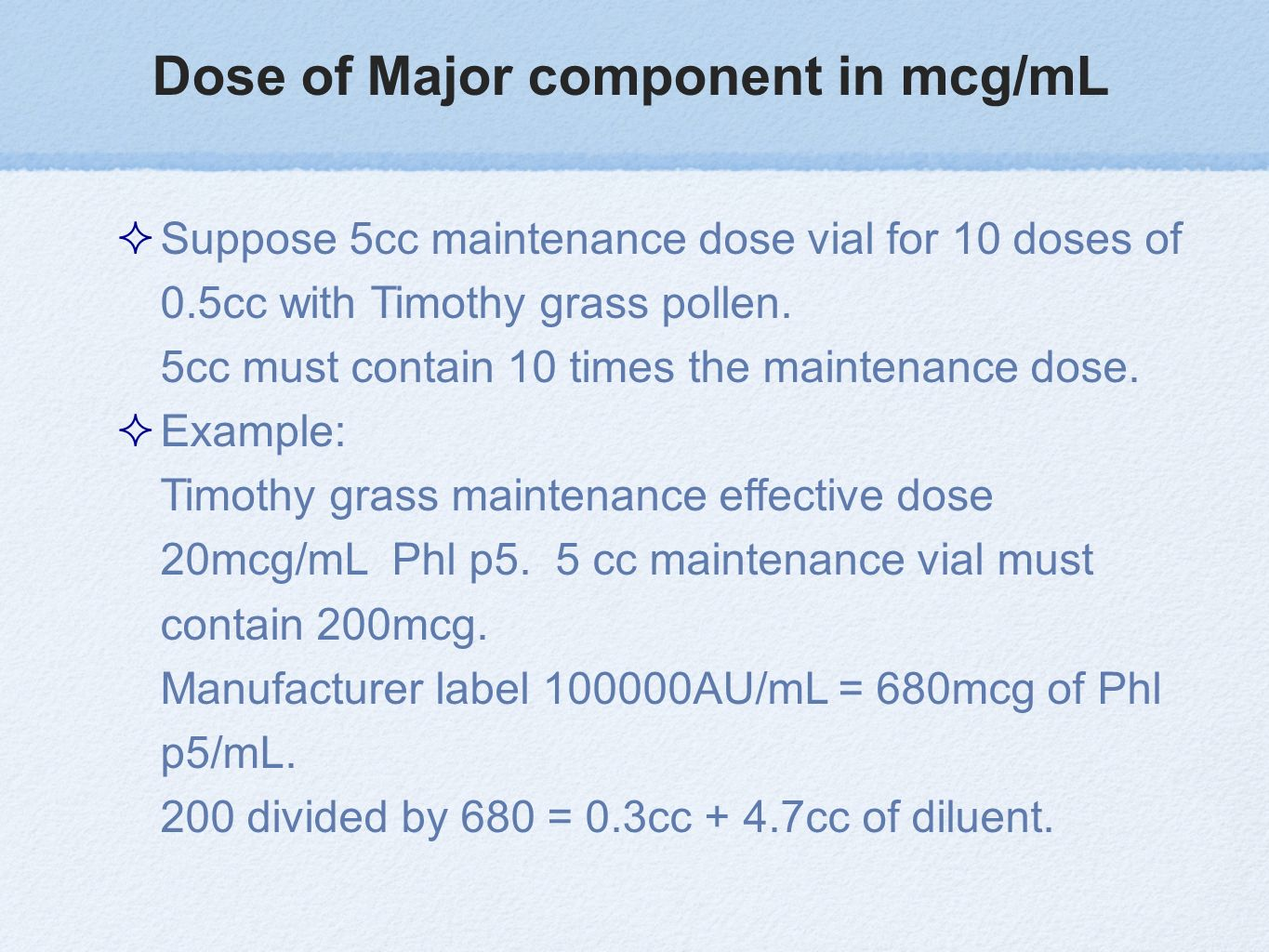Dose of Major component in mcg/mL