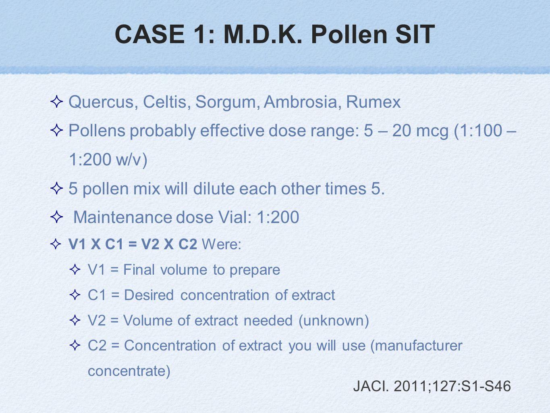 CASE 1: M.D.K. Pollen SIT Quercus, Celtis, Sorgum, Ambrosia, Rumex