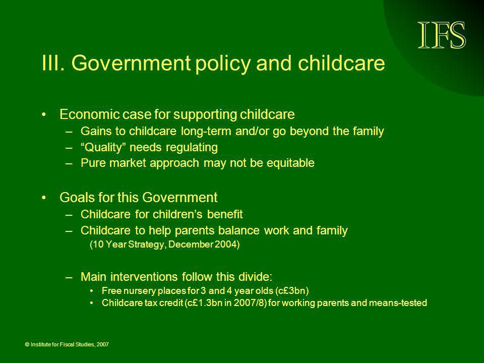 III. Government policy and childcare