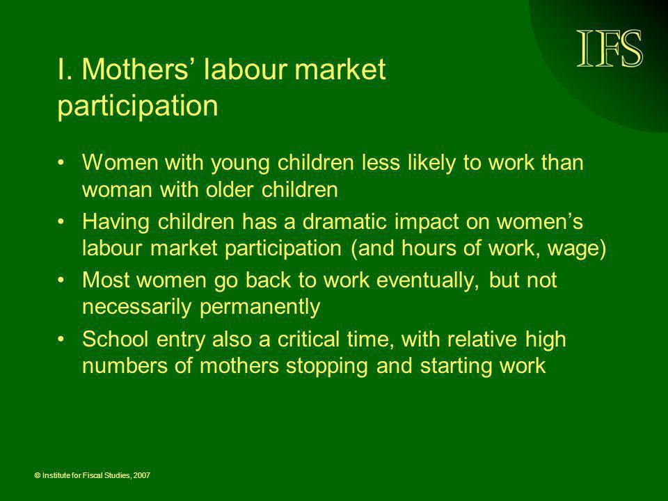 I. Mothers' labour market participation