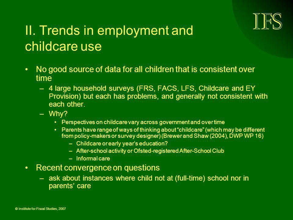 II. Trends in employment and childcare use
