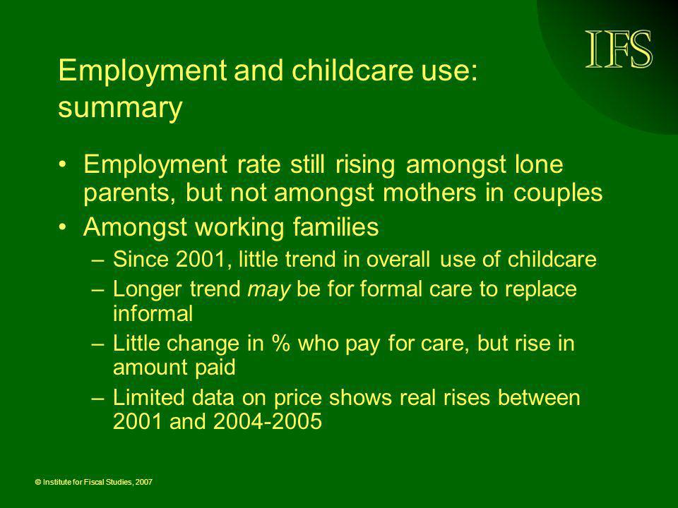 Employment and childcare use: summary