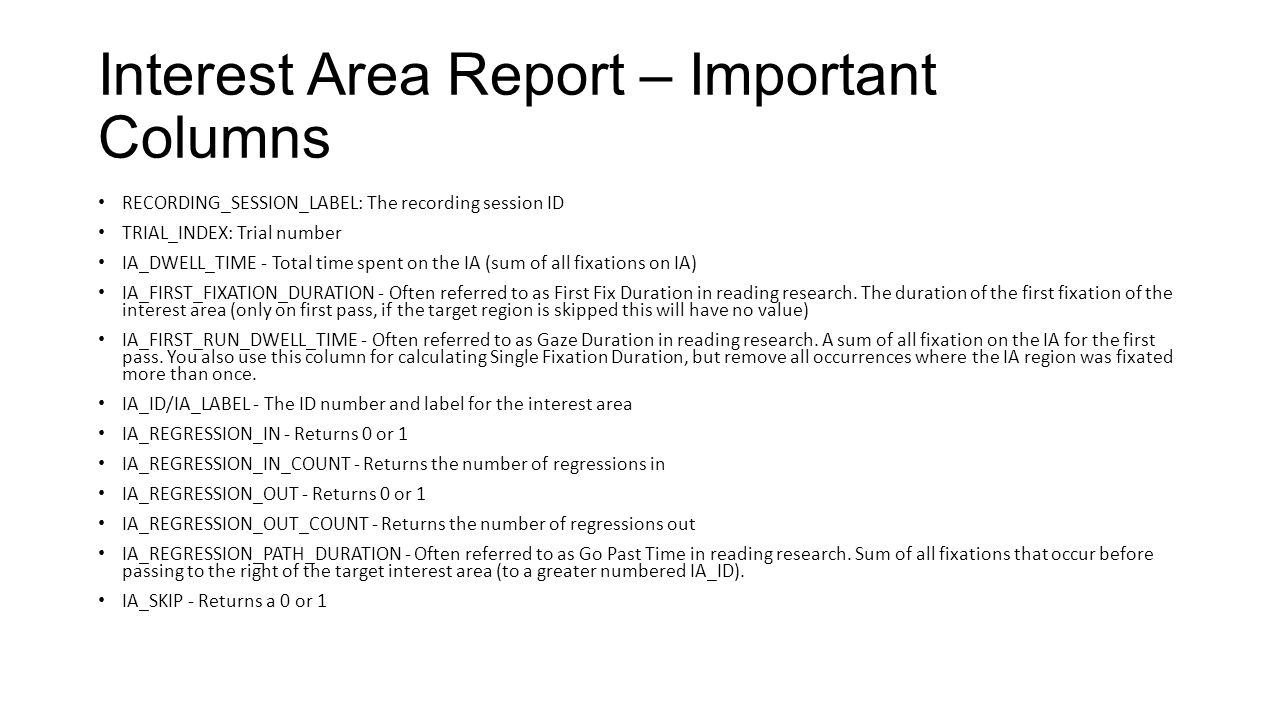 Interest Area Report – Important Columns