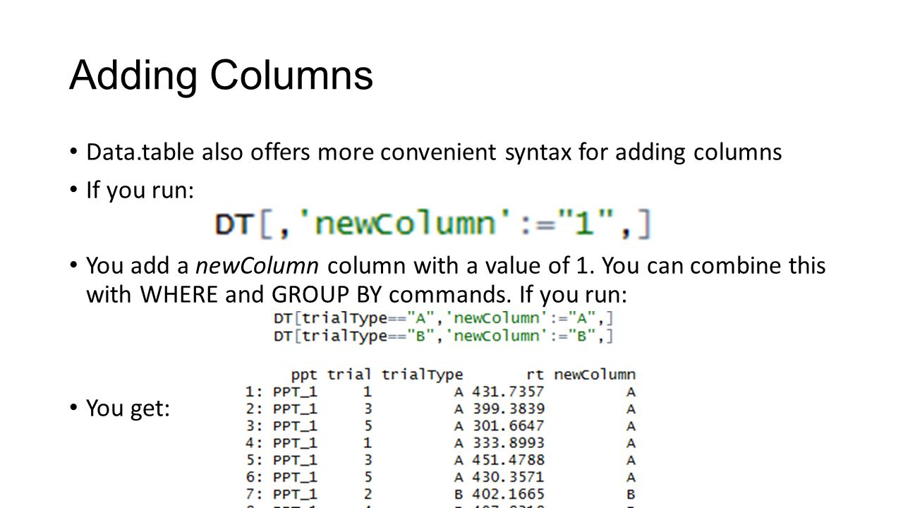 Adding Columns Data.table also offers more convenient syntax for adding columns. If you run: