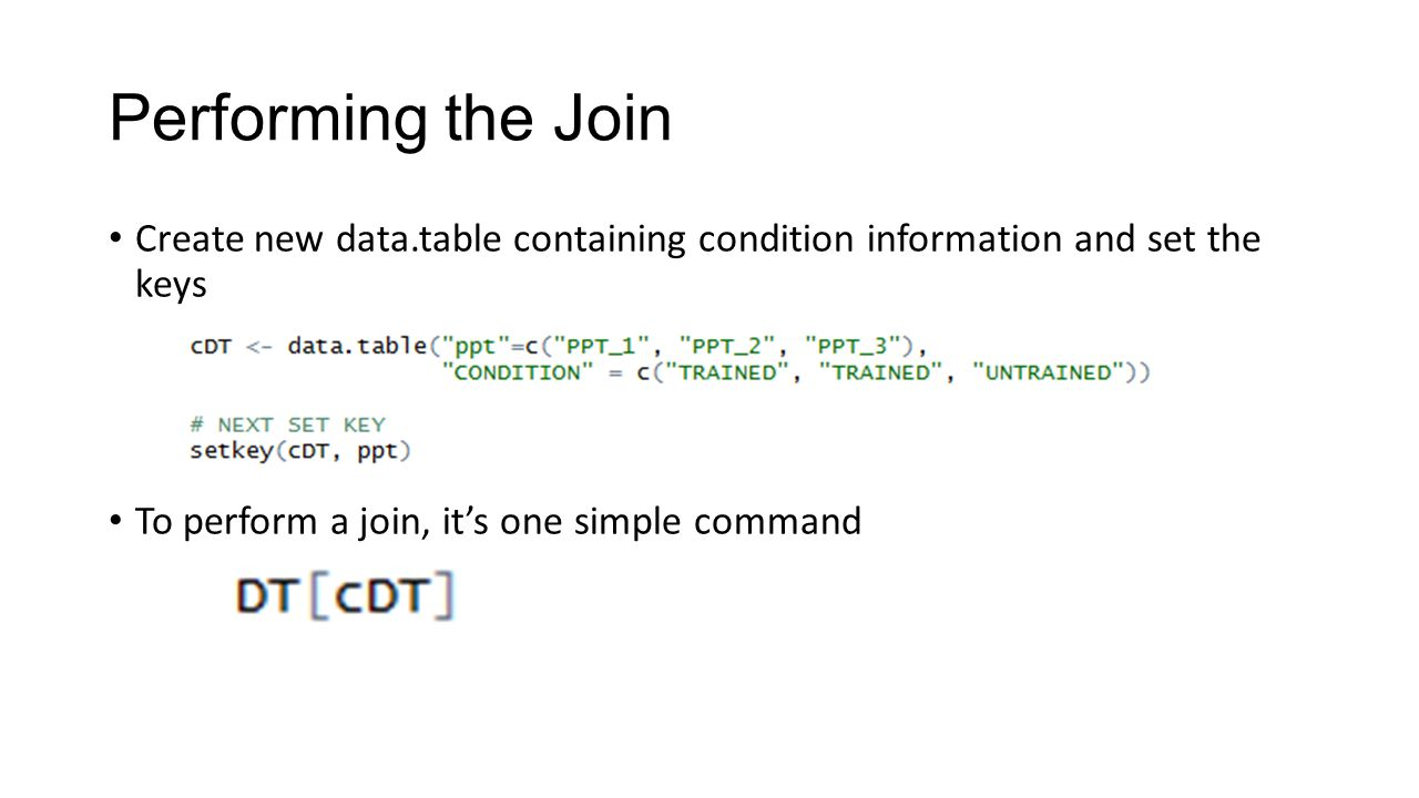 Performing the Join Create new data.table containing condition information and set the keys.