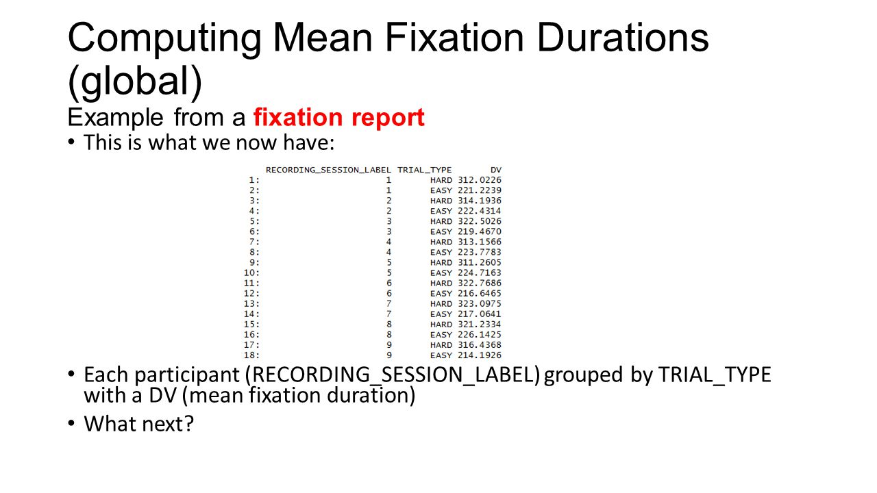 Computing Mean Fixation Durations (global) Example from a fixation report