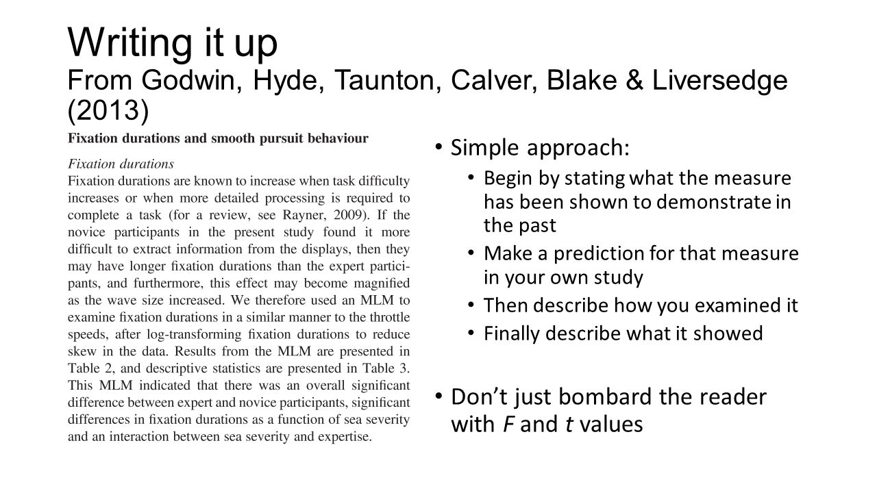 Writing it up From Godwin, Hyde, Taunton, Calver, Blake & Liversedge (2013)