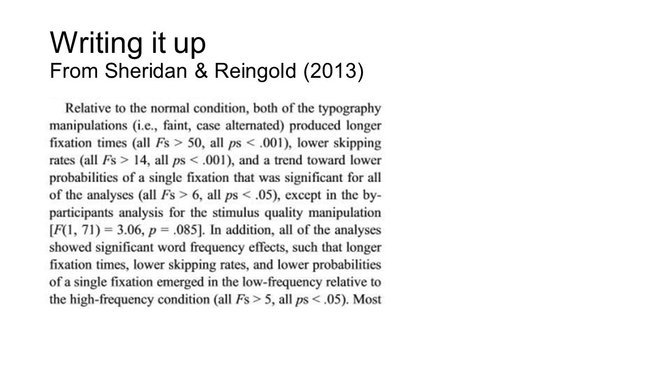Writing it up From Sheridan & Reingold (2013)