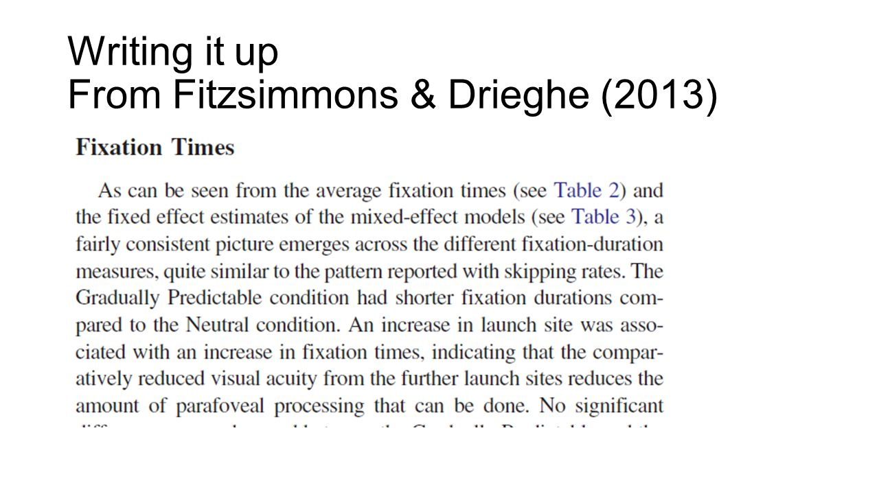 Writing it up From Fitzsimmons & Drieghe (2013)