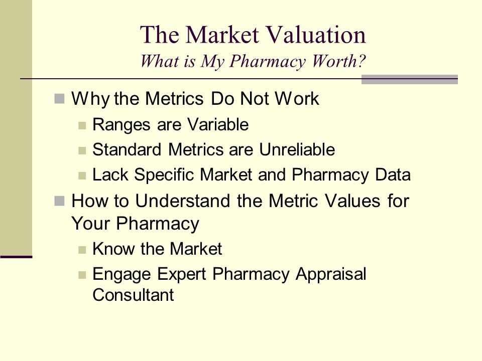 The Market Valuation What is My Pharmacy Worth