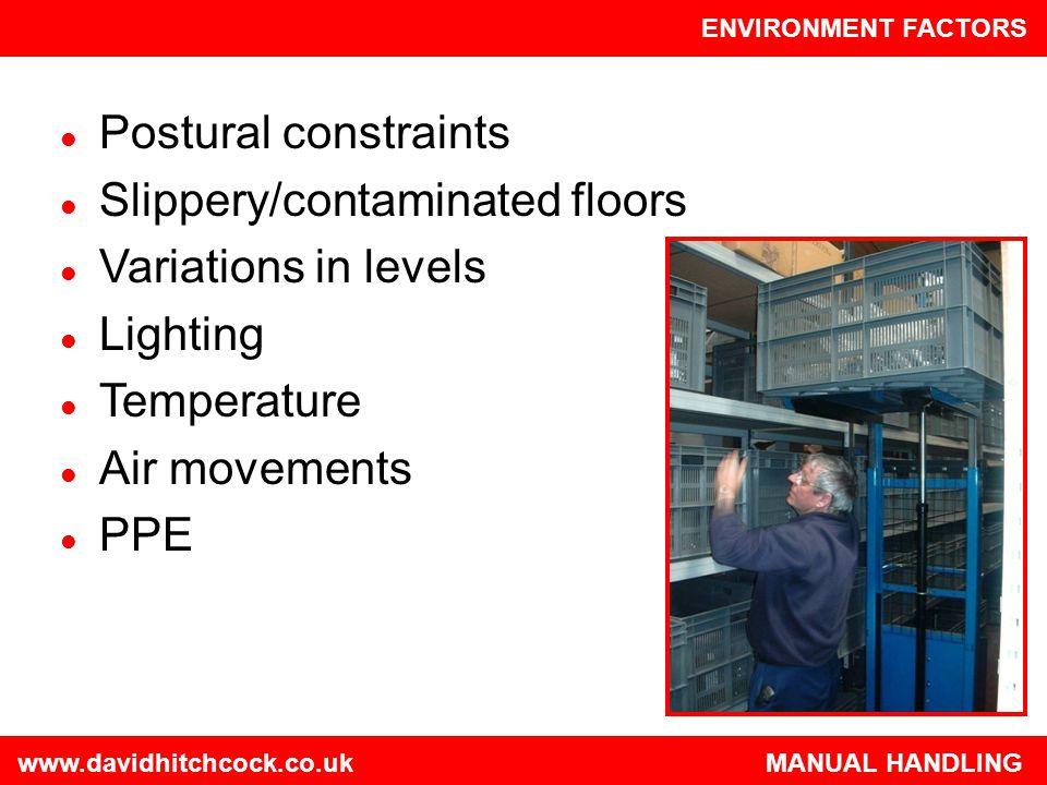 Slippery/contaminated floors Variations in levels Lighting Temperature