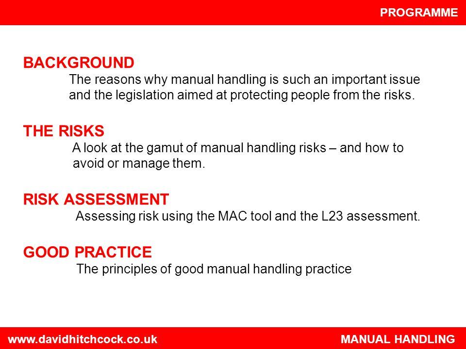 BACKGROUND THE RISKS RISK ASSESSMENT GOOD PRACTICE