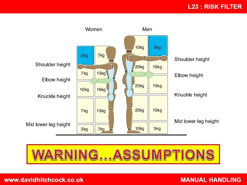 WARNING…ASSUMPTIONS   MANUAL HANDLING