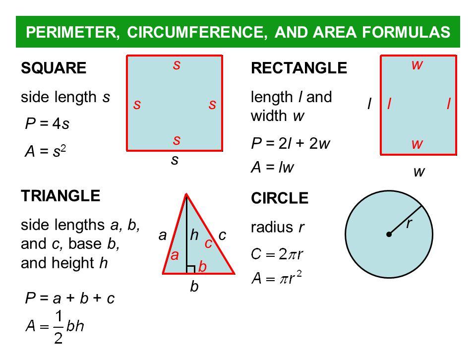 PERIMETER, CIRCUMFERENCE, AND AREA FORMULAS