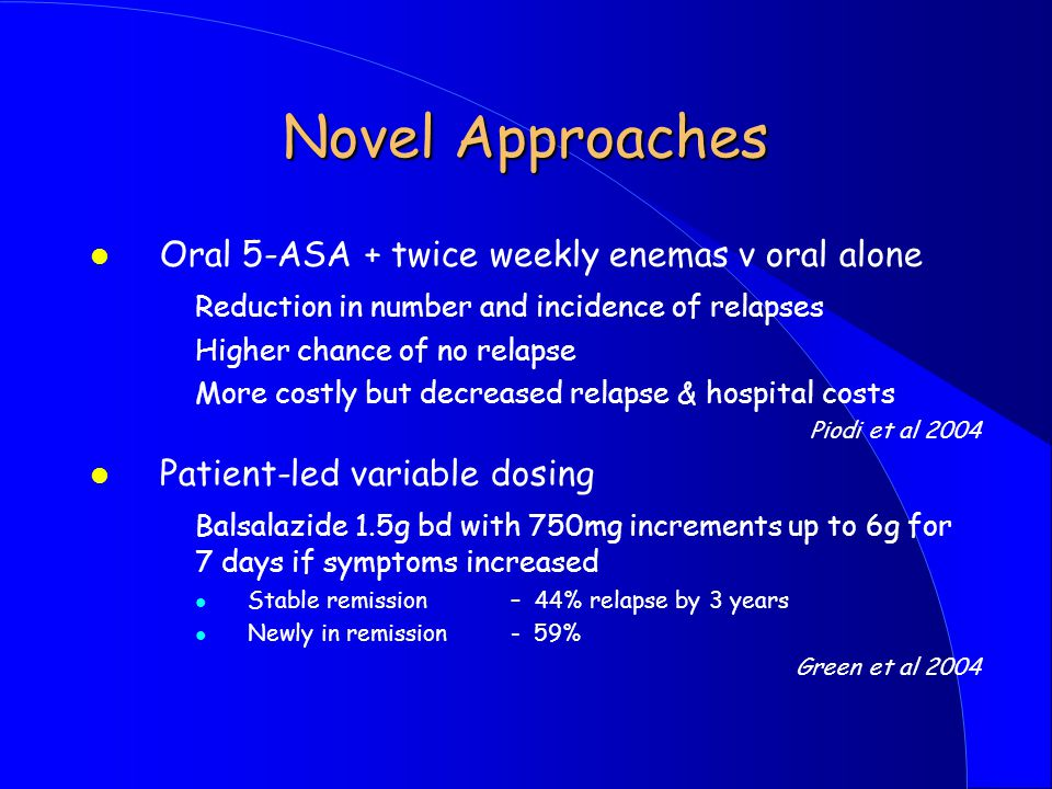 Novel Approaches Oral 5-ASA + twice weekly enemas v oral alone