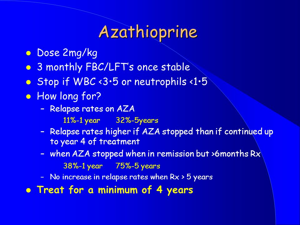 Azathioprine Dose 2mg/kg 3 monthly FBC/LFT's once stable