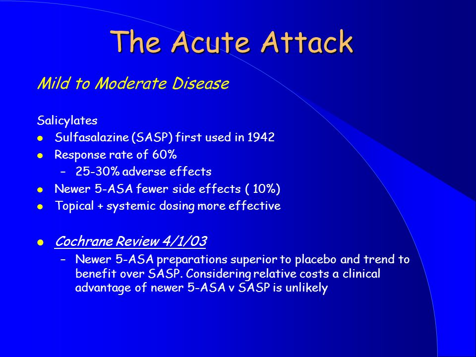 The Acute Attack Mild to Moderate Disease Cochrane Review 4/1/03