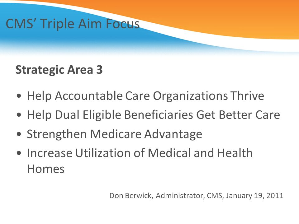 CMS' Triple Aim Focus Strategic Area 3