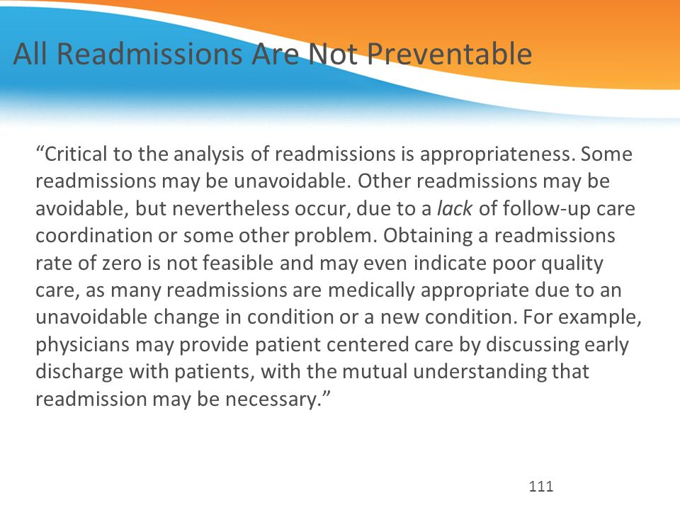 All Readmissions Are Not Preventable