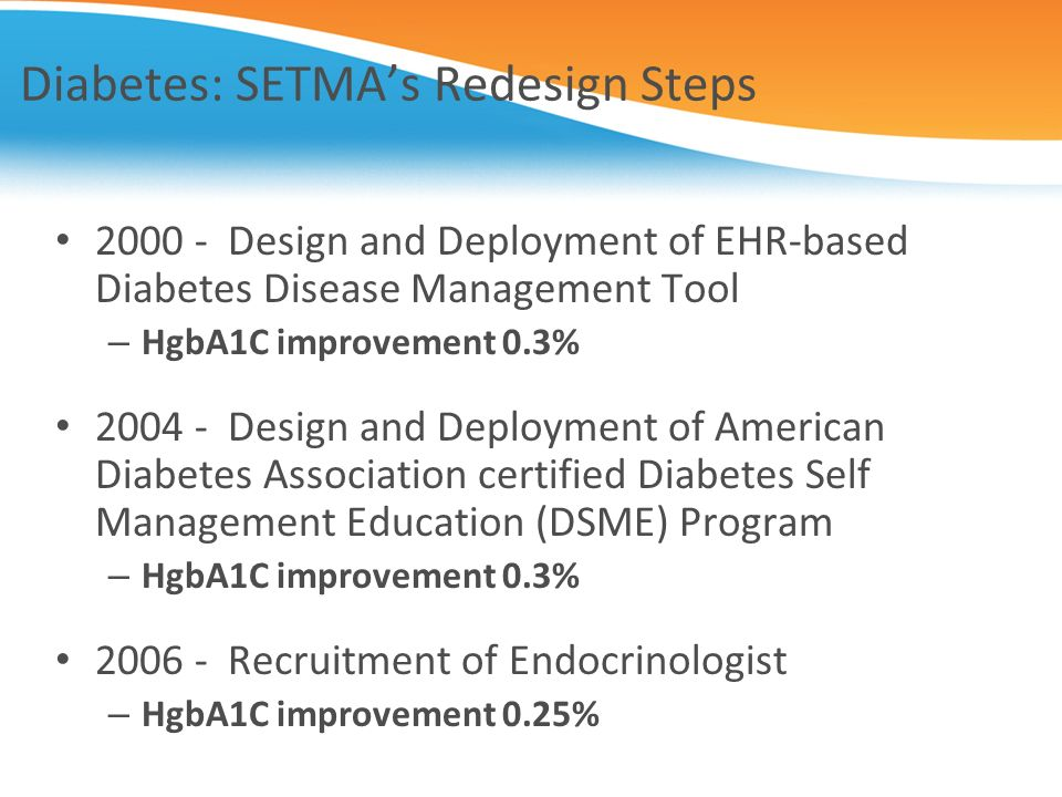 Diabetes: SETMA's Redesign Steps