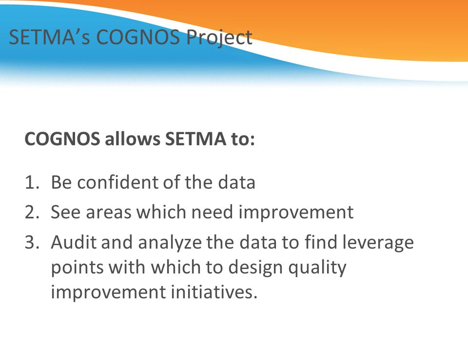 SETMA's COGNOS Project