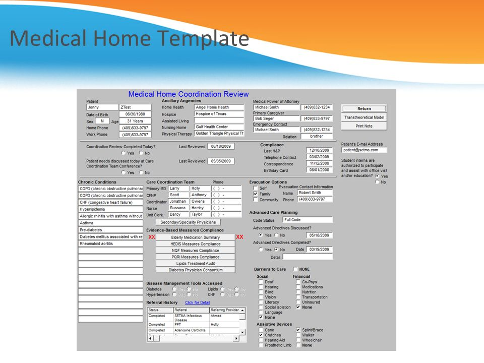 Medical Home Template