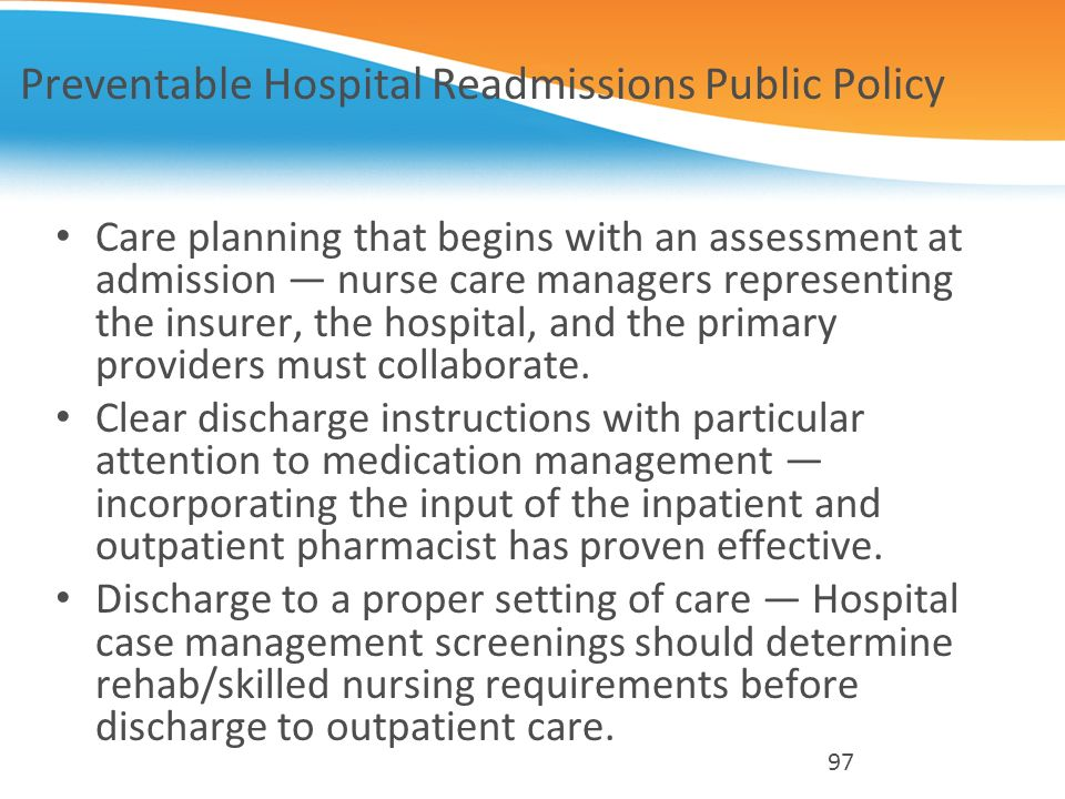 Preventable Hospital Readmissions Public Policy