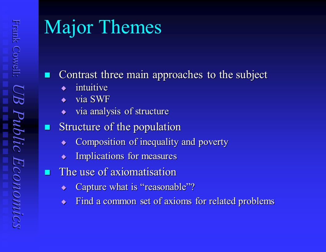 Major Themes Contrast three main approaches to the subject