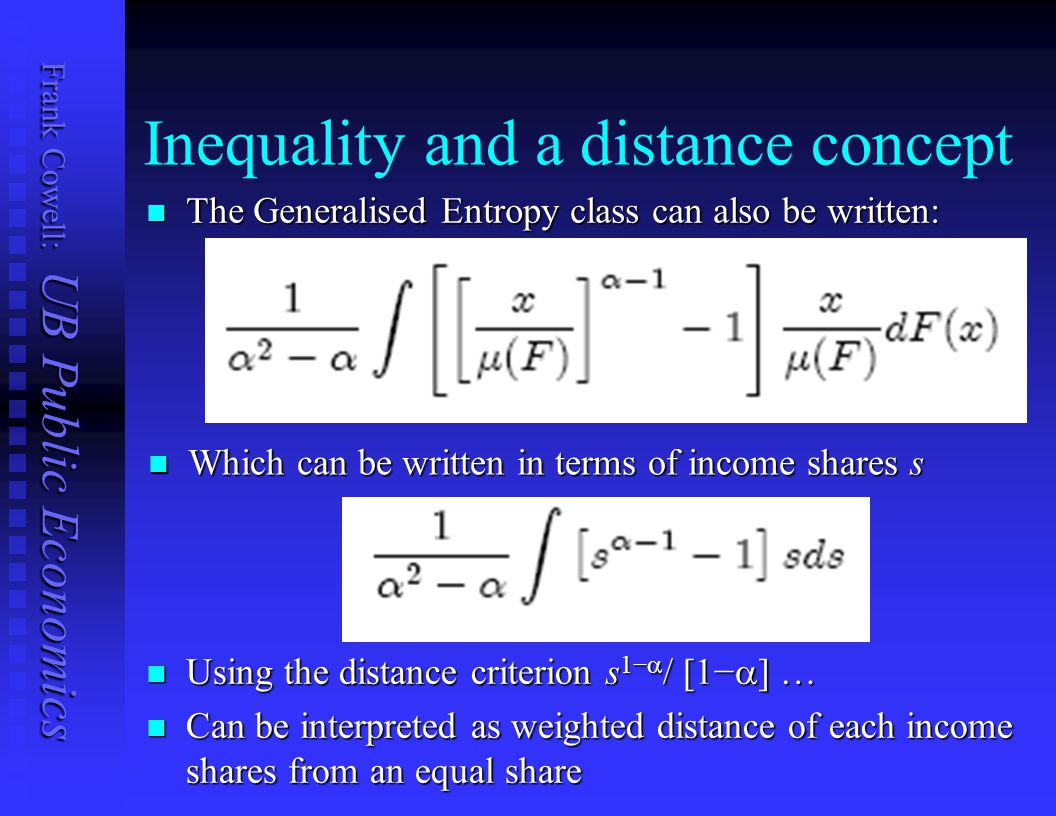 Inequality and a distance concept