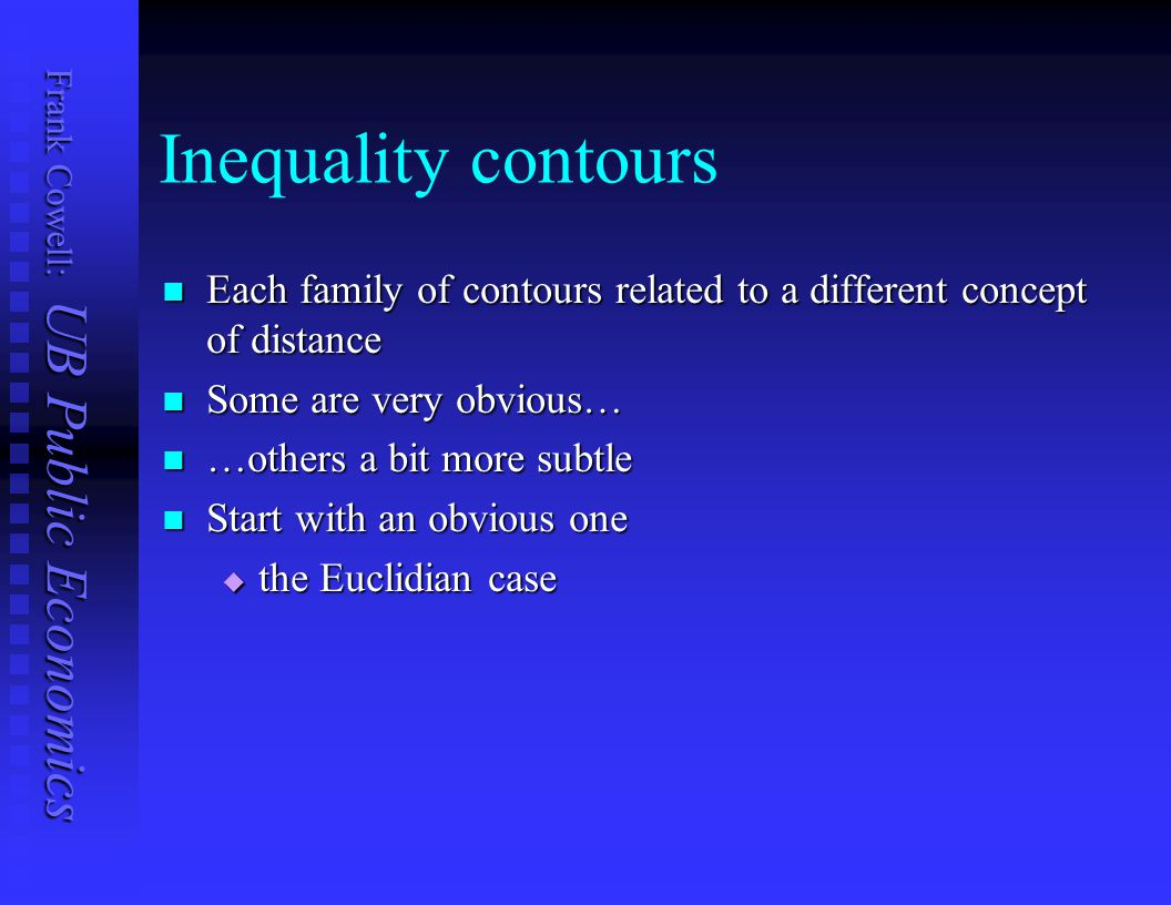 Inequality contours Each family of contours related to a different concept of distance. Some are very obvious…