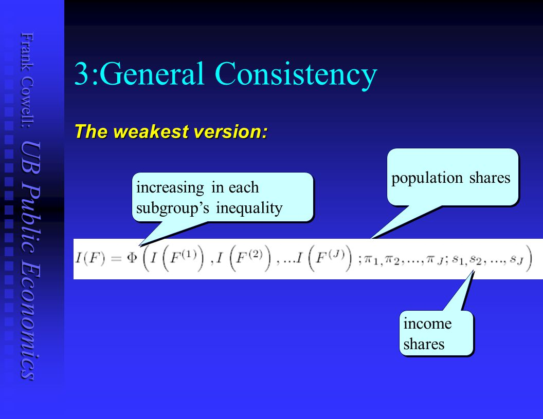3:General Consistency The weakest version: population shares