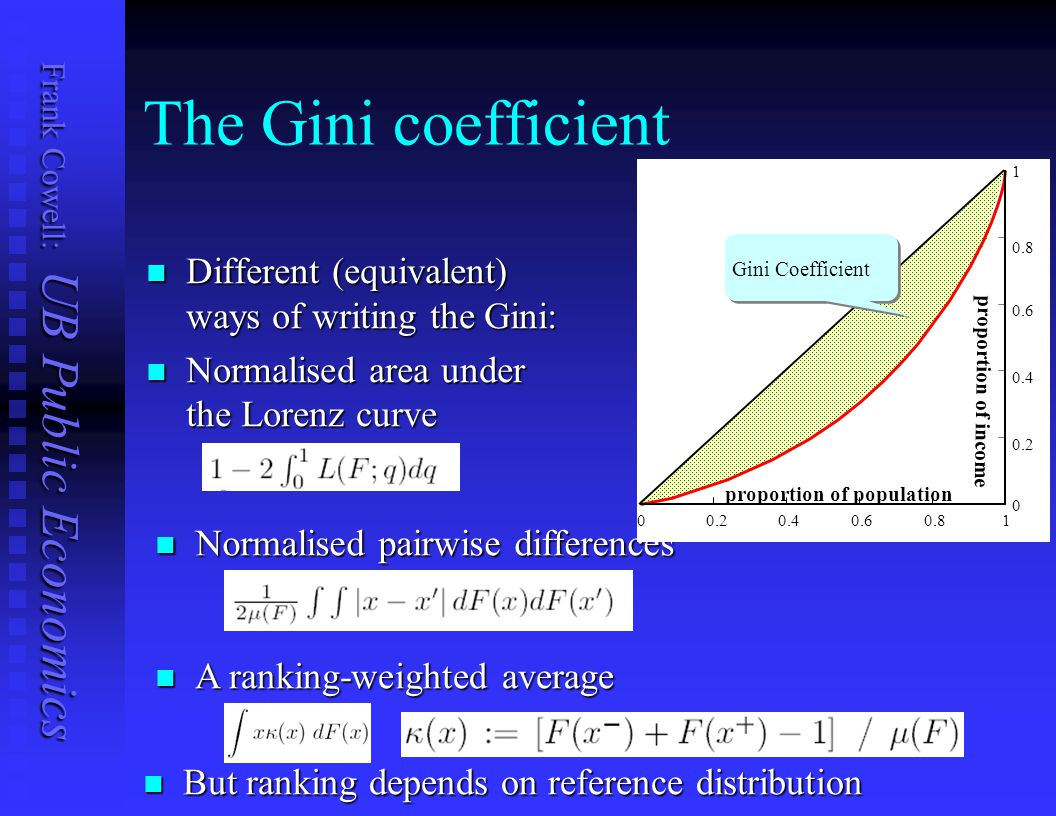 The Gini coefficient Different (equivalent) ways of writing the Gini: