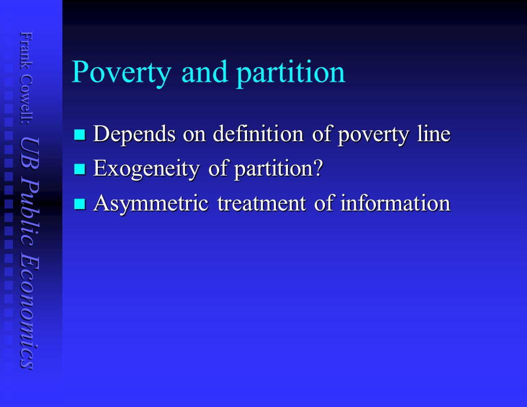 Poverty and partition Depends on definition of poverty line