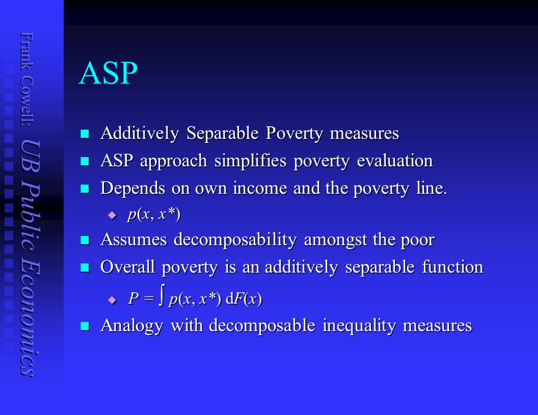 ASP Additively Separable Poverty measures