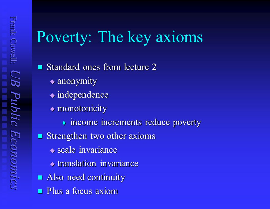 Poverty: The key axioms