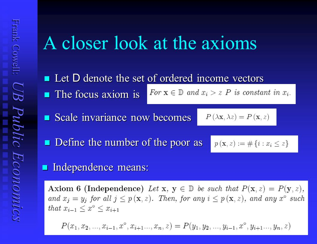 A closer look at the axioms
