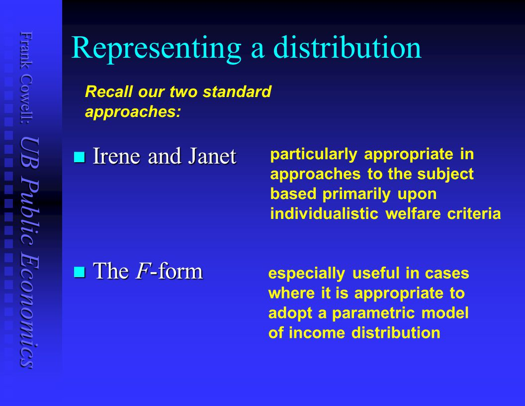 Representing a distribution