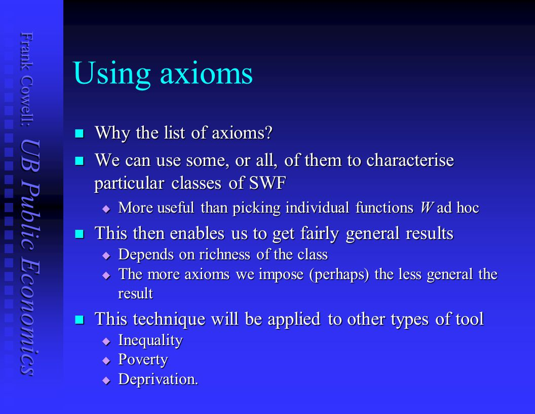 Using axioms Why the list of axioms