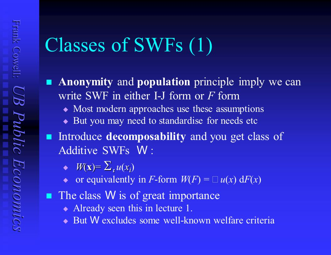 Classes of SWFs (1) Anonymity and population principle imply we can write SWF in either I-J form or F form.