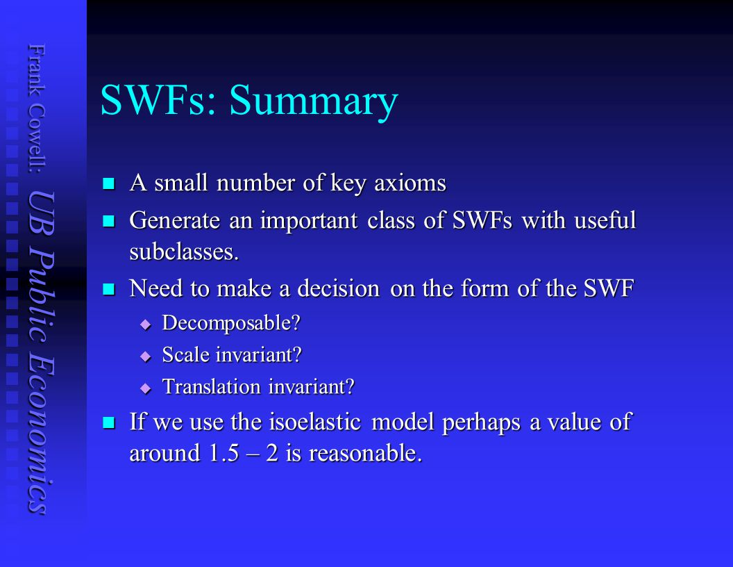 SWFs: Summary A small number of key axioms