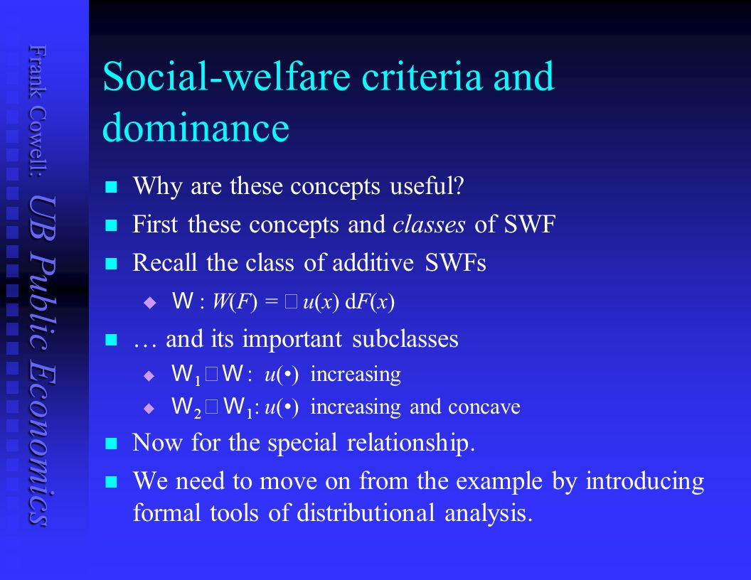 Social-welfare criteria and dominance