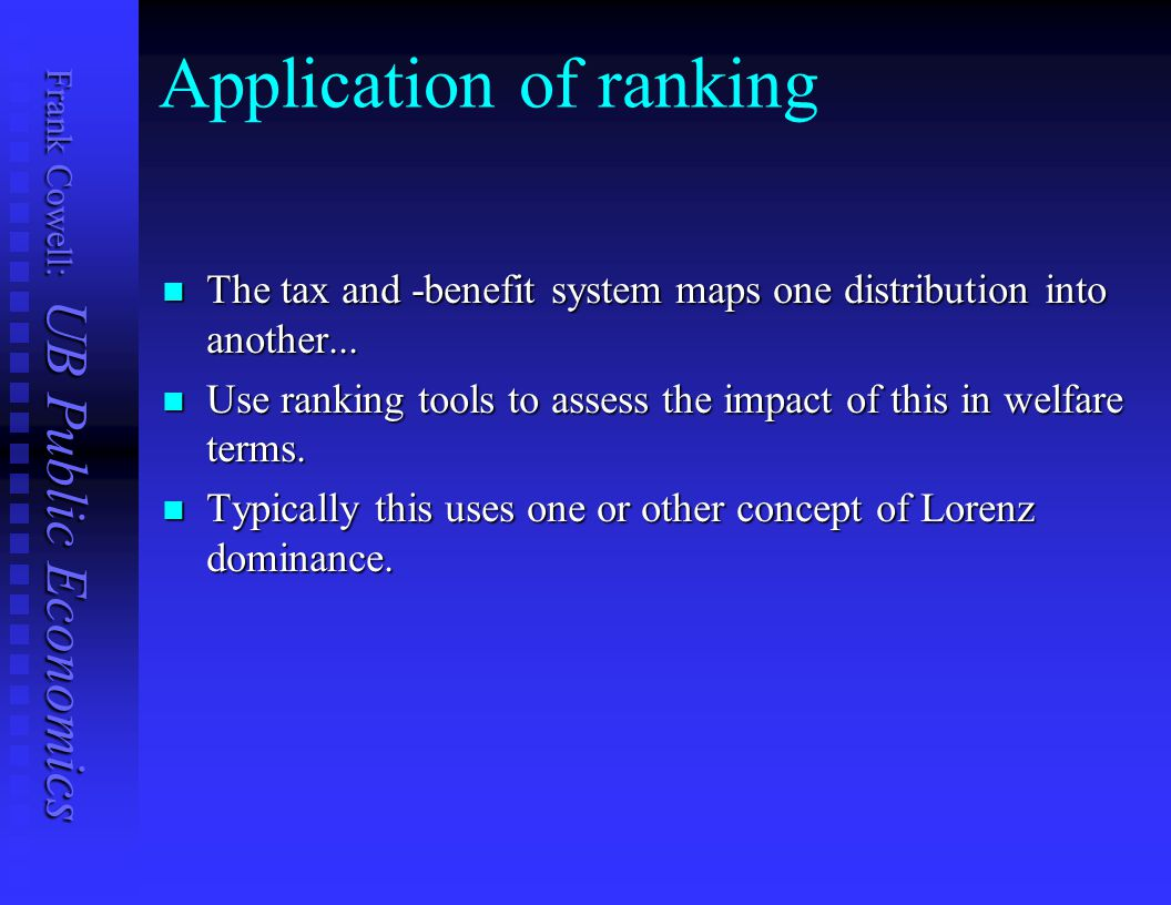 Application of ranking