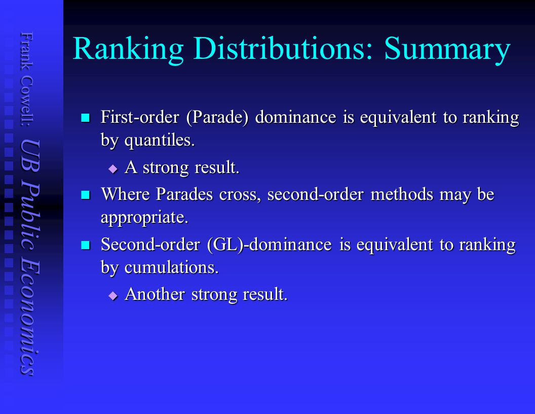 Ranking Distributions: Summary