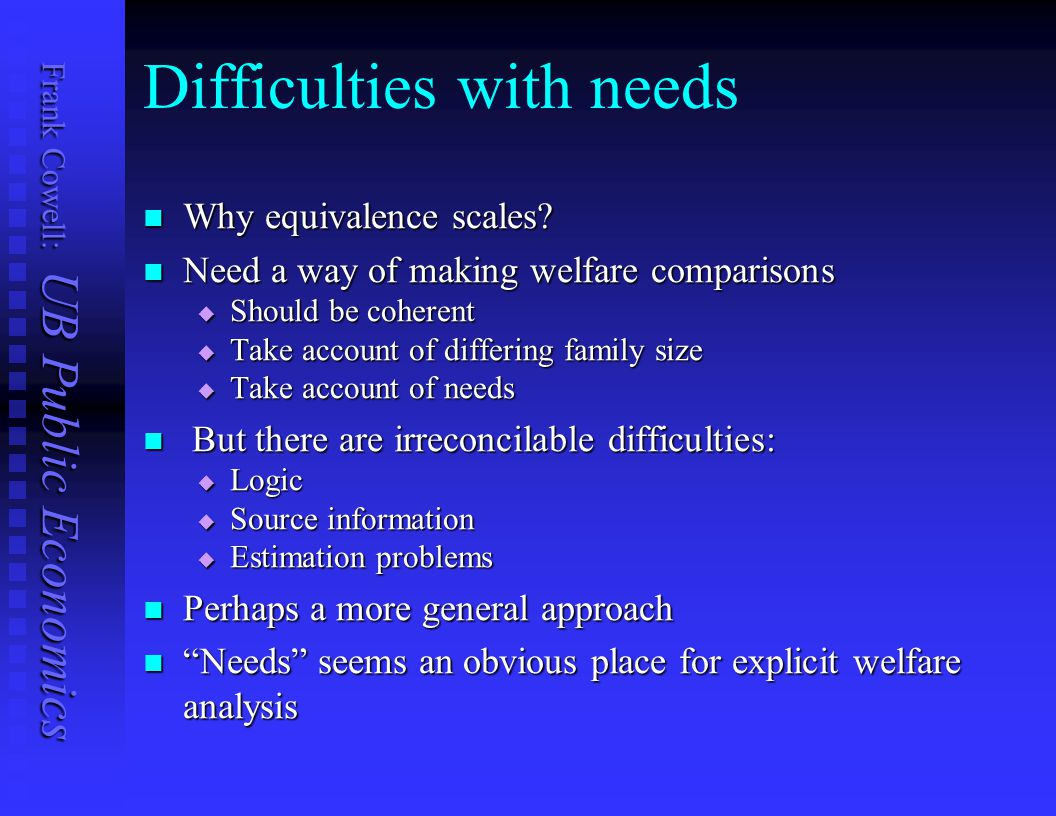 Difficulties with needs