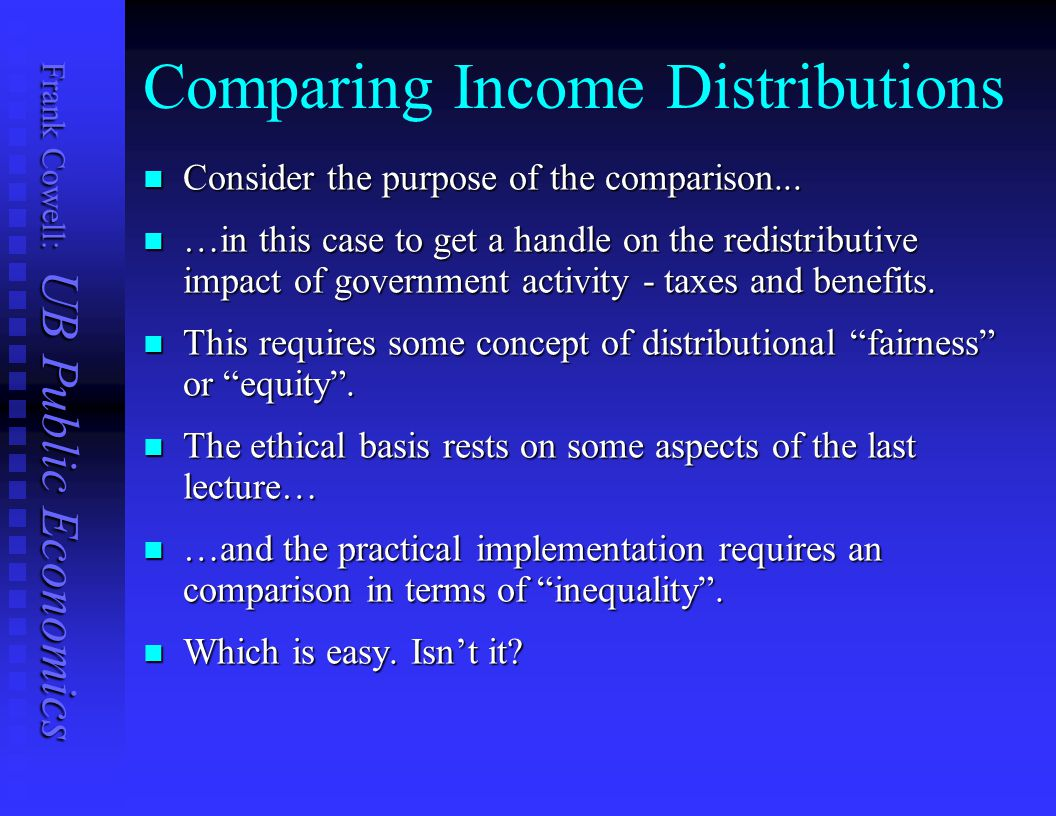 Comparing Income Distributions
