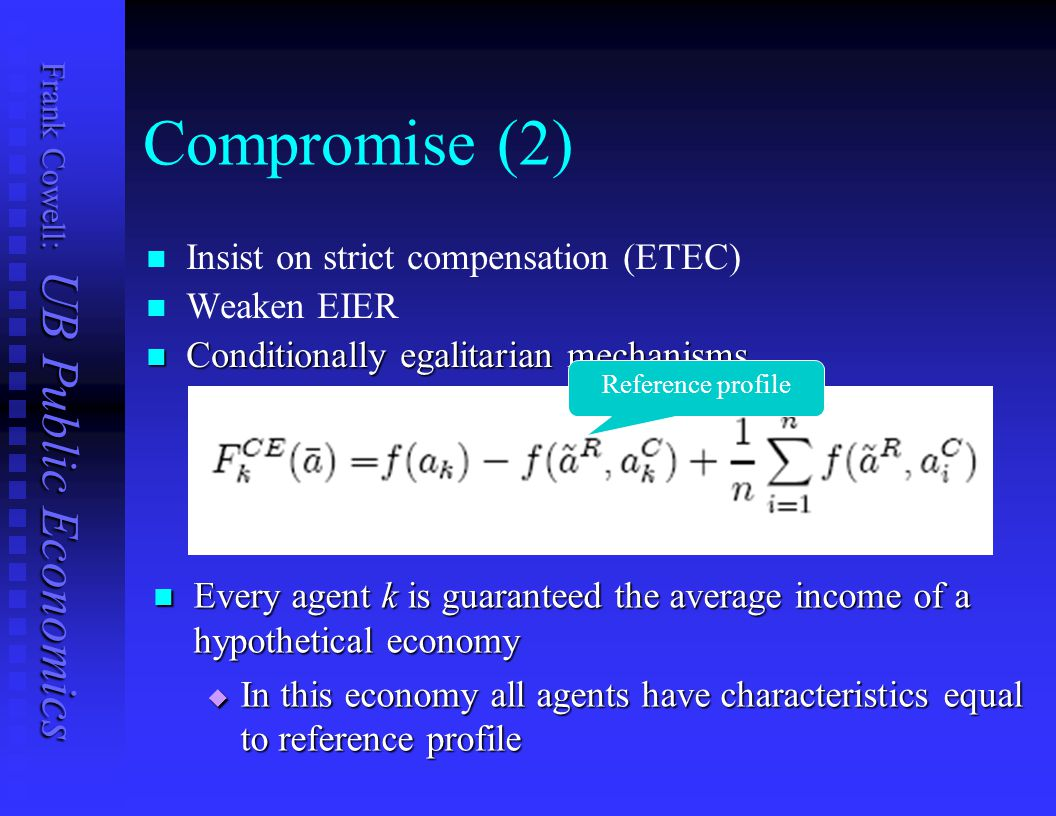 Compromise (2) Insist on strict compensation (ETEC) Weaken EIER
